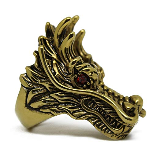 Action Box Jewelry Gothic Dragon Ring, Silver or Gold Dragon Ring, Outlaw Biker Dragon Ring (Gold, 13)