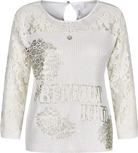 Sportalm Damen Pullover mit floraler Spitze Größe 38 EU Weiß (weiß)