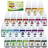 24 Coloranti Alimentari - Colorante Alimentare Liquido Concentrati per Cuocere, Decorare, Glassare e Cucinare - Coloranti Alimentari a Vibranti per Fondente, Slime e Mestieri - Flaconi di 6 ml