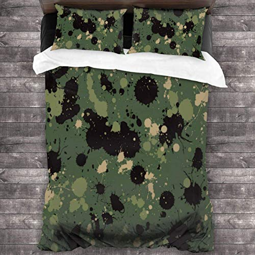KDRW Bedding Set Army Color Background 3 Piece Duvet Cover Set Wrinkle Resistant Bed Quilts with Zipper Closure Comfy Bed Sheets Set with 2 Pillowcase 86'' X70