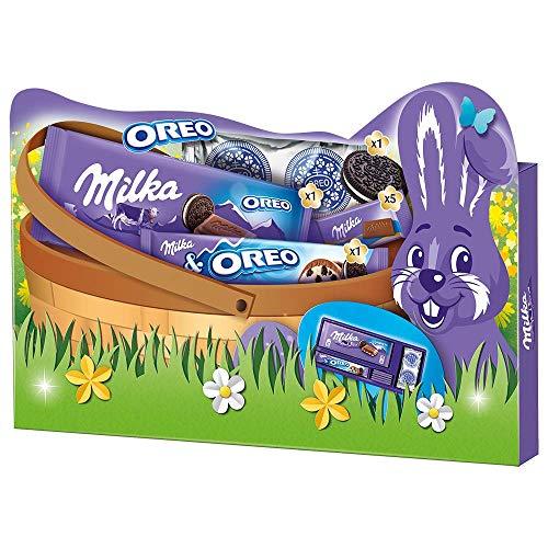 Milka & OREO Geschenkbox Ostern – Geschenkset mit OREO Tafel, Riegel, Keksen und Alpenmilch-Naps – 182g