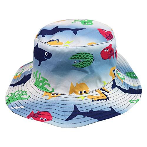 JINGZHONG Gorros para El Sol De Playa Al Aire Libre para Niños, Tamaño M, Azul Océano, Pez, Tiburón, Cangrejo, Ballena, Estampado De Animales, Sombreros De Cubo para Niños