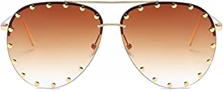 Fashion Culture Unisex Affair Studded Aviator Sunglasses Ombre Lens, Gold