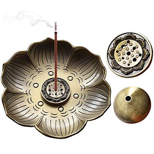 Porta incienso de loto NANAOUS (latón, 3 en 1, quemador de incienso de loto, con trampa de hollín,...