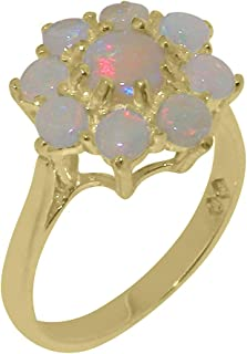 Solid 9k Yellow Gold Natural Opal Womens Cluster Ring - Sizes 4 to 12 Available