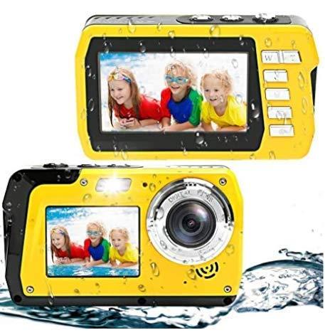 Waterproof Camera Underwater Digital Camera 48MP 2.7K Waterproof Camera for Snorkeling Selfie Dual Screen Video Camera Point Shoot Digital Camera