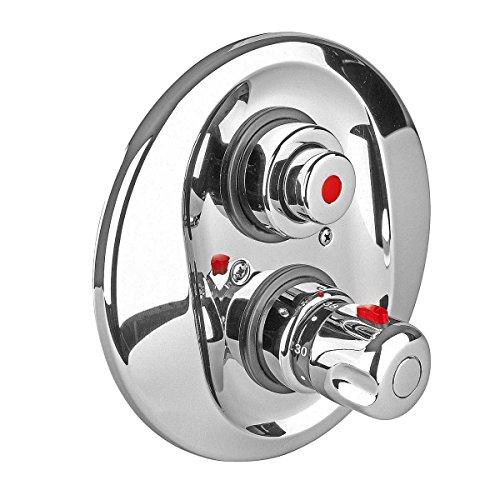 Sanixa EMID09015 Selbstschluss Dusch-Armatur Einbau | mit Thermostat | zeitgesteuert | selbstabschaltend | Unterputz Schlag-Armatur Gewerbe-Armatur