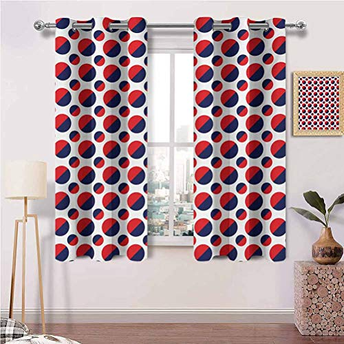 Print Blackout Curtains with Grommets Abstract Colorful Figures with Half Circles Rounds Artwork Image for Metal French Patio Door Panel Set of 2 Panels (36 x 84 Inch)