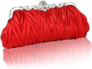 LVfenghe Women's Pearl Beads Banquet Clutch Fashion Crystal Rhinestones Bridal Evening Bag Women's Shoulder Messenger Bag Size:27 * 3 * 12cm (Color : Red)