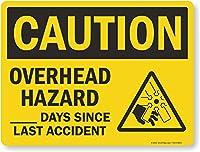 """Caution :オーバーヘッドHazard、_ _ _日since last事故、丈夫なアルミサイン、80mil、24"""" x 18"""""""