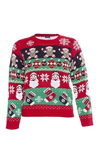 NOROZE Kinder Jungen Mädchen 3D Weihnachten Pullover Weihnachtsmann Schneemann Pfefferkuchen Rentier Neuheit Pulls Strickpullover Pulli (7/8 Jahre, Pfefferkuchen Glöckchen Rot)