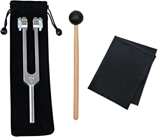 Youjoy 256 Hz Medical-Grade Tuning Fork, 256 Cps Tuning Forks Fixed Weights Clinical Grade Nerve with Silicone Hammer and Cleaning Cloth, Packaged in Soft Storage Bag
