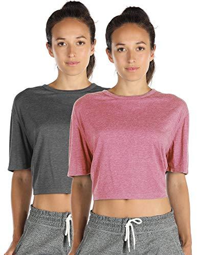 Damen Kurzarm Crop Tops Fitness T-Shirts Loose Fit Rundhals Bauchfrei Shirt, 2er Pack (S, Charcoal/Pink)