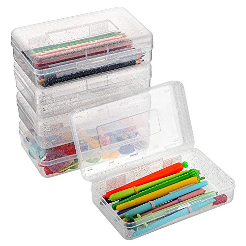 BTSKY Stylish Multipurpose Utility Box- Large Capacity Pencil Box with Snap Lid Closure Pencil Holder Plastic Pencil Box for Organize Pencils Watercolor Pens Stationery Office Supplies 5 Pack Clear