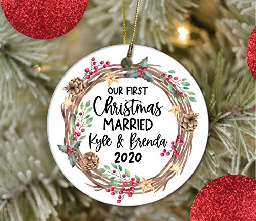 Lplpol 3 Inch Our First Year Married Ornament 2020 Wedding Gift Married Ceramic Ornaments Christmas Tree Holiday Ornament