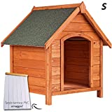 Cuccia Smontabile, alta qualità, CON TENDA TERMICA Per esterno, con tetto spiovente. Per qualsiasi tipo di cane Piedini (in gomma) per proteggere dall'umidità e dal freddo del suolo e per permettere un buon ricircolo d'aria CUCCIA SMALL - Lunghezza: ...