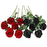 Floralsecret 12 Piezas Rosas Artificiales Ramo Flores Imidacial de Seda Decoración de Boda Casa(Negra, Roja)
