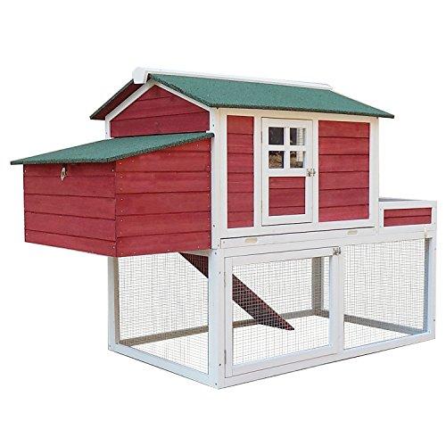 "PawHut 63"" Chicken Coop Wooden Hen House Rabbit Hutch Poultry"