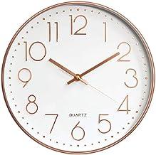 Relógio De Parede Para Cozinha Grande Rose Gold Silencioso