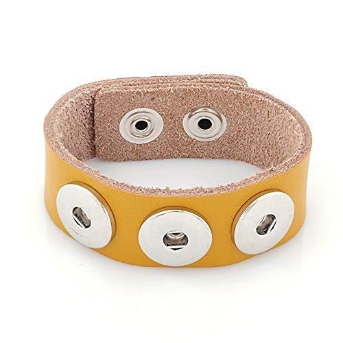 ANDANTE Leder Armband für Chunks Click-Buttons mit Druckknopf-Verschluss (18-22 cm) Dunkel-Gelb
