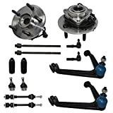 Detroit Axle - 4WD Front Suspension and Wheel Bearing, Front Wheel Bearings Hubs, Upper Control Arms, Tie Rods, Ball Joints, Sway Bar Links for Ram 1500 2002-2005 -14PC Set