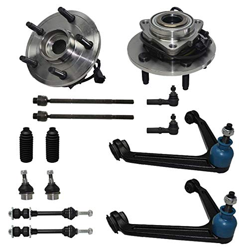 Detroit Axle - 4WD Front Suspension and Wheel Bearing 14pc Rebuild Kit, Front Wheel Bearings Hubs, Upper Control Arms, Tie Rods, Ball Joints, Sway Bar Links for Ram 1500 2002-2005