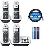 Motorola CD5014 DECT 6.0 Cordless Phone with Digital Answering Machine, Call Block, and 10dB Amplification (4-Pack) Bundle with Blucoil 10-FT 1 Gbps Cat5e Cable, and Reusable Cable Ties (5-Pack)
