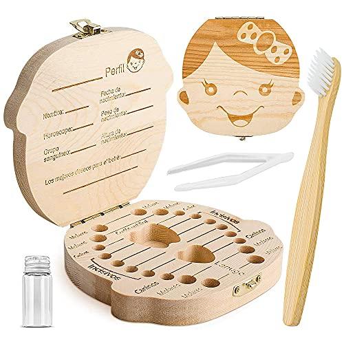 ZIIDOO Caja Dientes de Leche, Con Cepillo de Dientes de Bambú, Cajas Madera Para Dientes de Leche en Español Niña, Cajitas Organizador Por Guarda Bebe Dientes