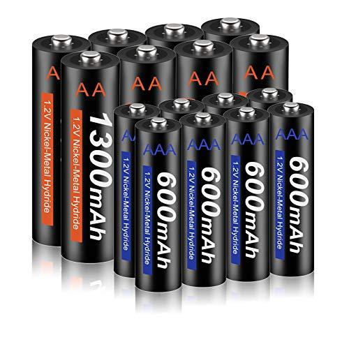 CITYORK Akku AA 1300mAh + Akku AAA 600mah Wiederaufladbare Batterien hohe Kapazität 1,2V AAA NI-MH Aufladbare Akkubatterien geringe Selbstentladung, 16 Stück