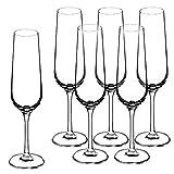 KADAX Sektgläser, 6er Set, 200ml, Sektflöten für zu Hause, Party, Hochzeit, Moderne Sektkelche, Bequeme Champagnergläser mit hohe und Enge Stiel, transparent - 2