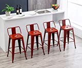 30' Metal Bar Stools Industrial Barstools Counter Height Stools for Indoor/Outdoor Barstools [Set of 4] (30', Low Back Distressed Red)