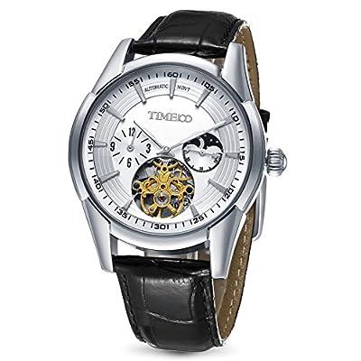 Time100 reloj moderno automático para hombre correa de piel esqueleto reloj mecánico de TIME100