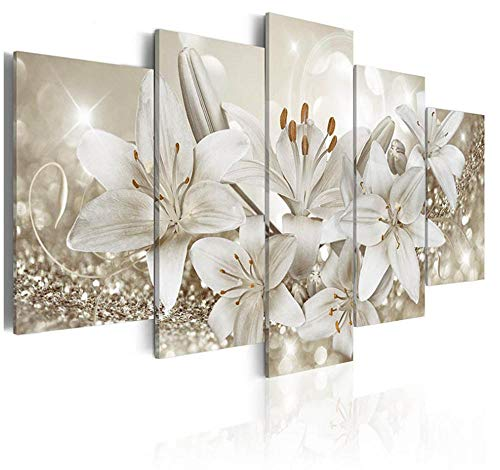 KDFN Wohnkultur Leinwand Wandmalerei Leinwanddruck Bilder Wohnzimmer Wandkunst 5 Lilie Gemälde exquisite Blumenposter z