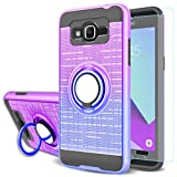 Galaxy J2 Prime Case,Galaxy Grand Prime Case,Galaxy Grand Prime Plus Case with HD Screen Protector,AYMECL 360 Degree Ring Holder Gradient Dual Layer Protective Case for Galaxy G530H-BG Purple&Blue