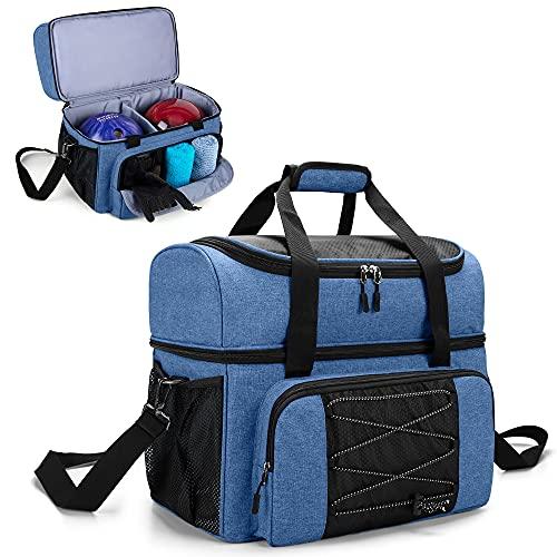 DSLEAF Bowlingtasche mit 2 Bällen, Bowlingtasche mit Bowlingschalen aus Holz und gepolsterter Trennwand für Doppelball und ein Paar Bowlingschuhe bis Herren 16 und extra Essentials, nur Tasche, blau