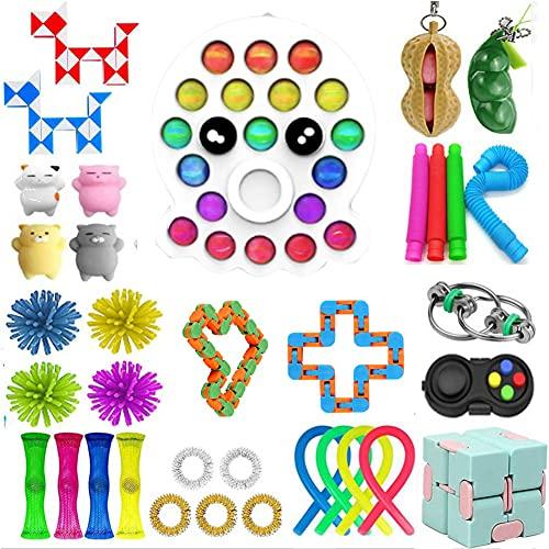 WEDSFC Sensory Fidget Toy Set 37Pcs Finger Sensory Toys Pack,Stress Relief Special Toys Gifts,Kids Girls Boys School Classroom Rewards Carnival Party Treasure Box Prizes,C