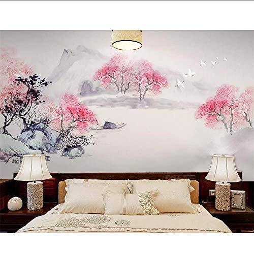 MRQXDP Papiertapete, Landschaft, Pfirsichfarben, für Wohnzimmer, Schlafzimmer, Wandbild 100x170cm