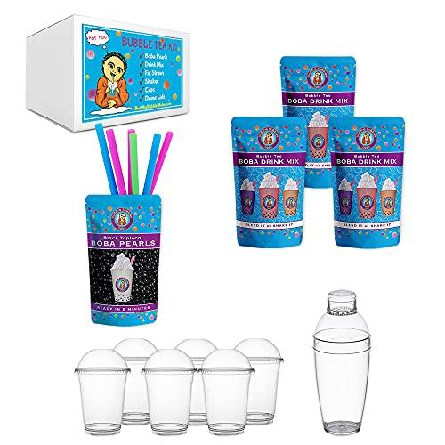 JUMBO Boba Bubble Tea Kit Makes 30+ Drinks DIY by Buddha Bubbles Boba GREEN TEA LATTE, TARO & HONEYDEW