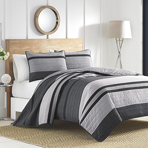 Nautica | Vessey Collection | 100% Cotton Reversible and Light-Weight Quilt Bedspread, Pre-Washed for Extra Comfort, Easy Care Machine Washable, King, Grey