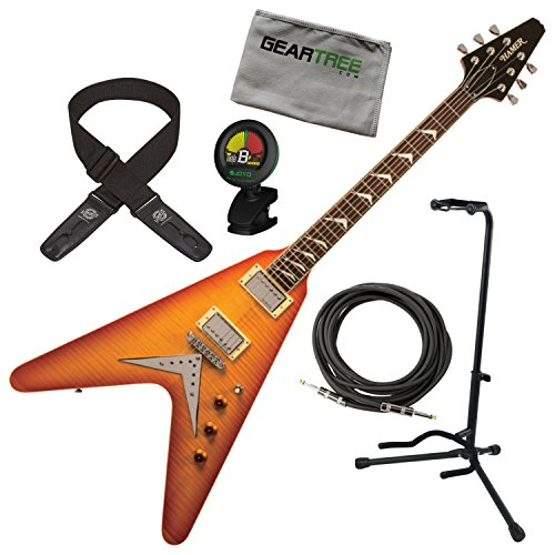 Hamer VECF-HB Vector Flame Top Honeyburst Flying V Electric Guitar...