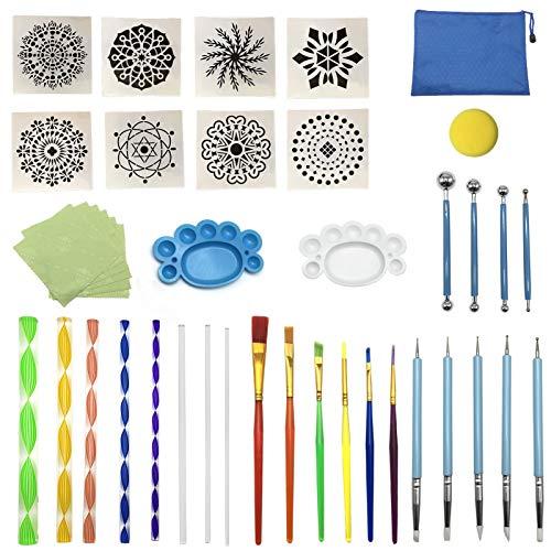 AIVORIUY Herramientas Puntillismo Mandala, 41pcs Kits de Pintura Mandala Dotting, Juego de Pintura Rupestre para Arte de Pared, Arte de Uñas Pintar en Roca, Colorear, Dibujar Suministros de Arte