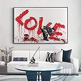 ImpresióN De Lienzo Cartel Graffiti Letra Amor Arte Callejero Pintura Figura Abstracta Moderna Imagen De Pared Sala De Estar DecoracióN Del Hogar 80x110cm Sin Marco