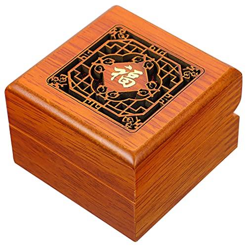 BESPORTBLE Caja de Joyería de Madera Tallada Caja de Joyería de Estilo Chino Vintage Caja de Almacenamiento para Collar Pulsera Reloj Anillo de Caja de Madera para Mujer
