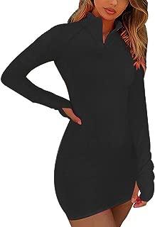 Women's Long Sleeve High Neck Zipper Bodycon Slim Fit Dress