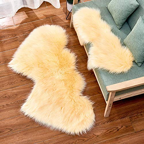N-B Double Heart Area Carpet, Soft Artificial Sheepskin Fur Area Carpet, Love Heart-Shaped Plush Carpet, Used for Family Living Room and Bedroom Sofa Floor Mats,