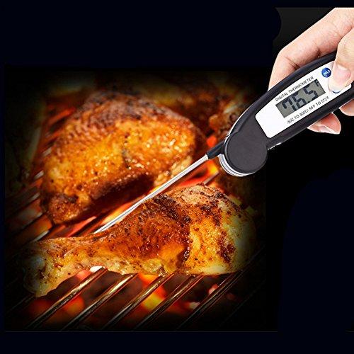Opvouwbare Instant Read Digitale LCD Koken Voedsel Brood Melk Temperatuur Thermometer voor Keuken Bakken Gereedschaps- Zwart