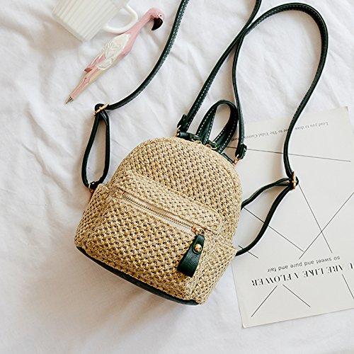 BAGEHUA Rucksack Tasche gewebtem Stroh Beach Bag Rucksack Mini Leisure Travel Bag Grün