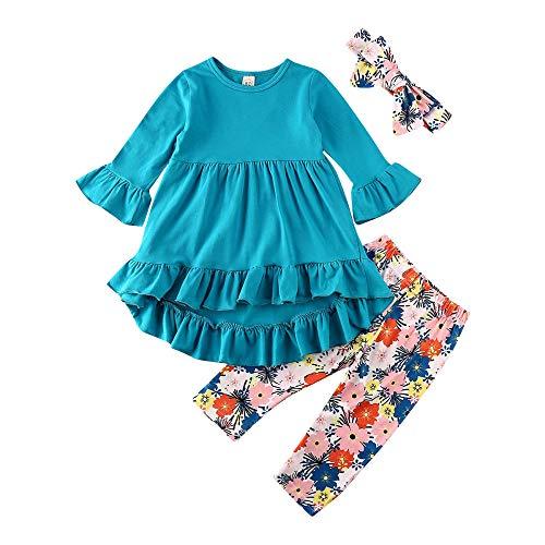 HOSD Kleidung für Kinder, Herbst, Mädchen, Trompete, Ärmel, Hemd, Blumen, Hose, Haarband, 3-teilig Gr. 120 cm, Korallenblau