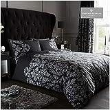 Gaveno Cavailia - Lussuoso set letto damascato impero con copripiumino e federe, in poliestere-cotone, colore: nero