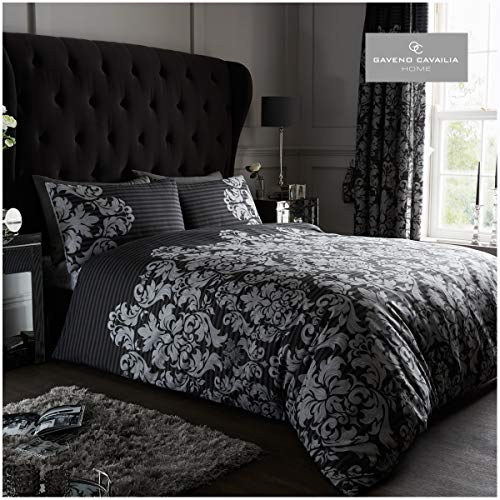Gaveno Cavailia Luxurious Empire Damask Bed Set with Duvet Cover and Pillow Cases, Polyester-Cotton, Black, Double